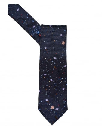 Mens All Over Constellation Print Navy Tie