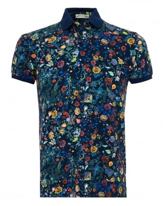 Mens All Over Floral Paisley Polo Shirt, Regular Fit Navy Multi Coloured Polo