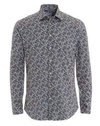 Mens All Over Grey Paisley Slim Fit Shirt