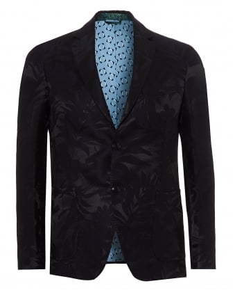 Mens All Over Leaf Print Jacket, Fully Lined Dark Navy Blazer