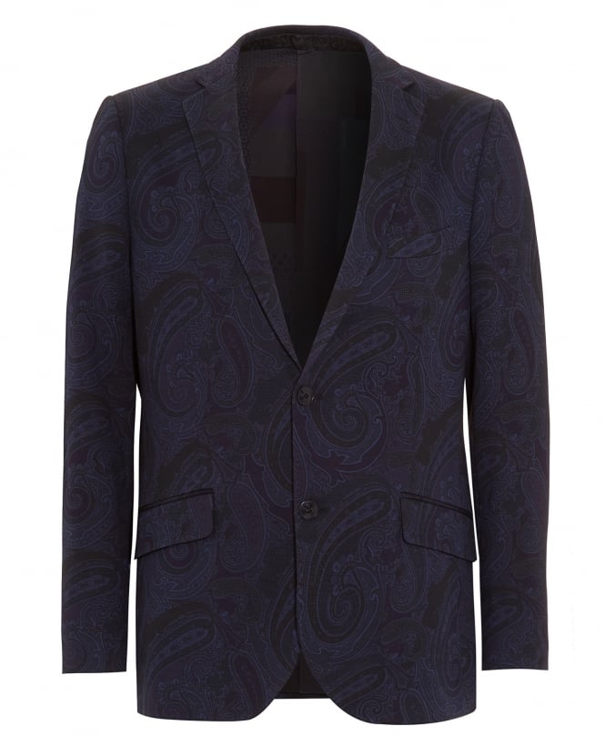 Etro Mens All Over Paisley Jersey Jacket Navy