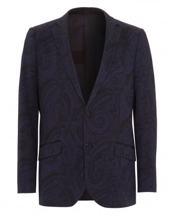 Mens All Over Paisley Jersey Jacket Navy
