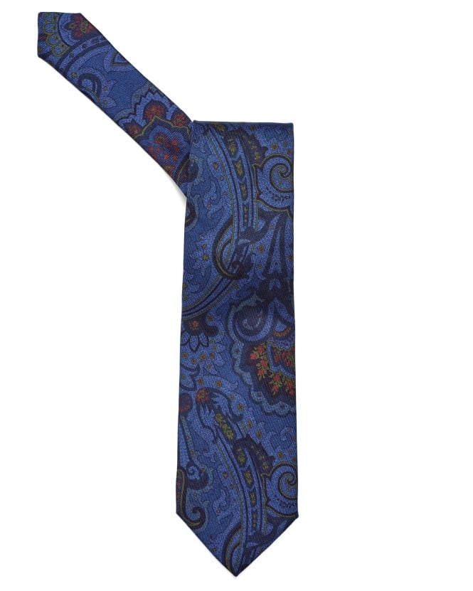 Etro Mens All Over Paisley Print Blue Tie