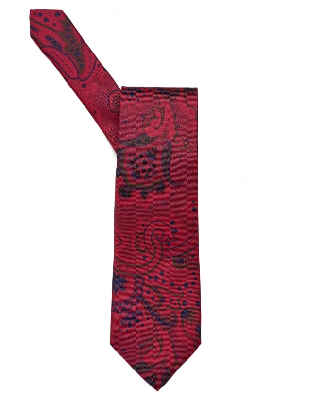 Etro Mens All Over Paisley Print Red Tie