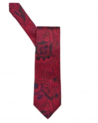 Mens All Over Paisley Print Red Tie