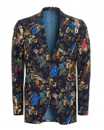 Mens Animal Fish Blazer, 2 Button Navy Blue Jacket
