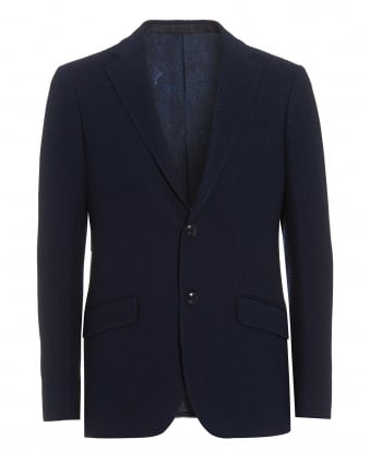 Mens Basket Weave Jacket, 2 Button Navy Blue Blazer Jacket