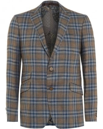 Mens Blazer, Check Tartan Blue Beige Silk Lined Jacket