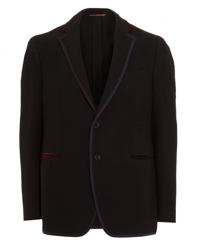 Etro Mens Blazer, Contrasting Edges Jersey Navy Jacket
