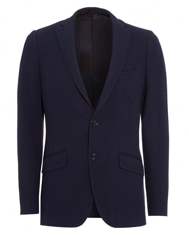 Etro Mens Blazer, Navy Blue Tonal Checked Jacket
