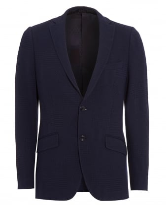 Mens Blazer, Navy Blue Tonal Checked Jacket