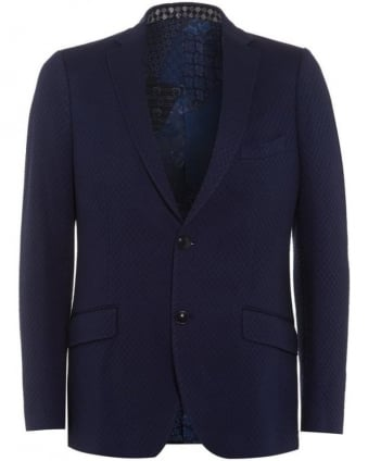 Mens Blazer Waffle Effect Silk Lined Navy Blue Jacket