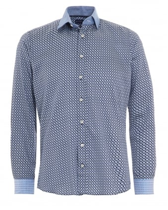 Mens Blue Geometric Contrast Cuff Shirt