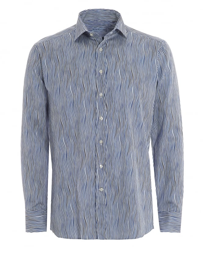 Etro Mens Blue Wavy Print Regular Fit Shirt