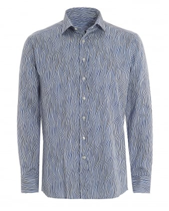 Mens Blue Wavy Print Regular Fit Shirt