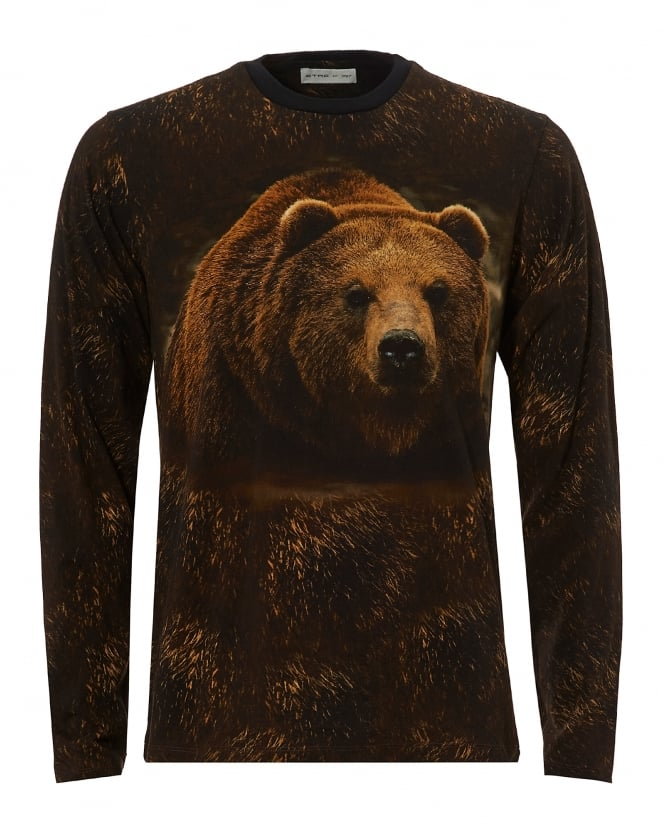 Etro Mens Brown Bear T-Shirt, Long Sleeve Brown Tee