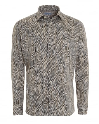 Mens Brown Wavy Print Regular Fit Shirt