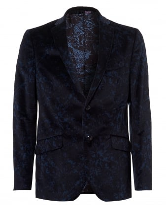 Mens Camo Printed Velvet Blazer, Navy Blue Jacket