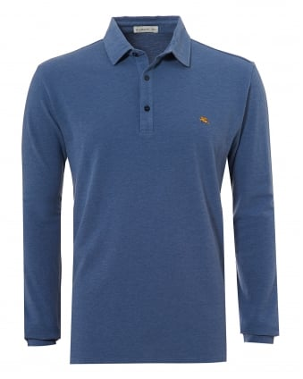 Mens Chest Logo Polo Shirt, Long Sleeve Mid Blue Polo