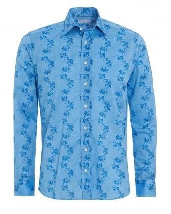 Mens Climb Floral Shirt, Regular Fit Blue Shirt