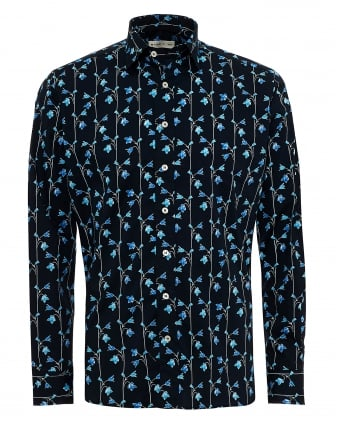Mens Climbing Sky Flowers Print Shirt, Regular Fit Navy Blue Shirt
