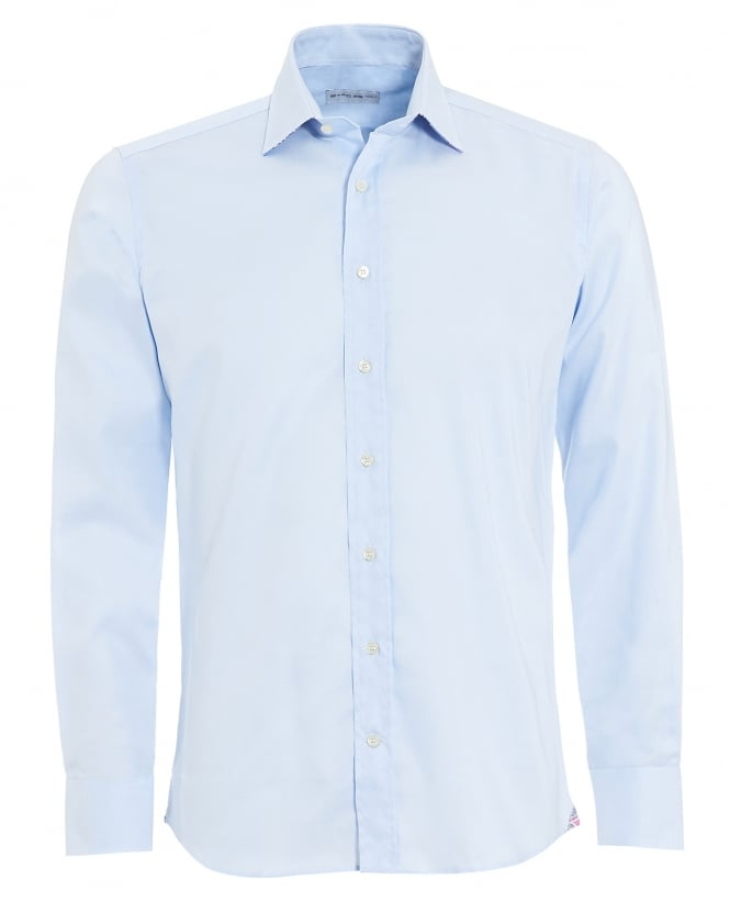 Etro Mens Contrast Cuff Collar Shirt, Regular Fit Sky Shirt