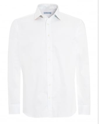 Mens Contrast Cuff Collar Shirt, Regular Fit White Shirt