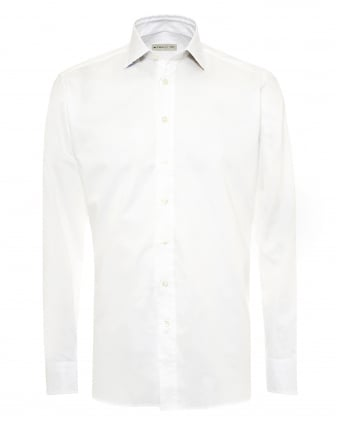 Mens Contrast Floral Inner Shirt, Regular Fit White Shirt