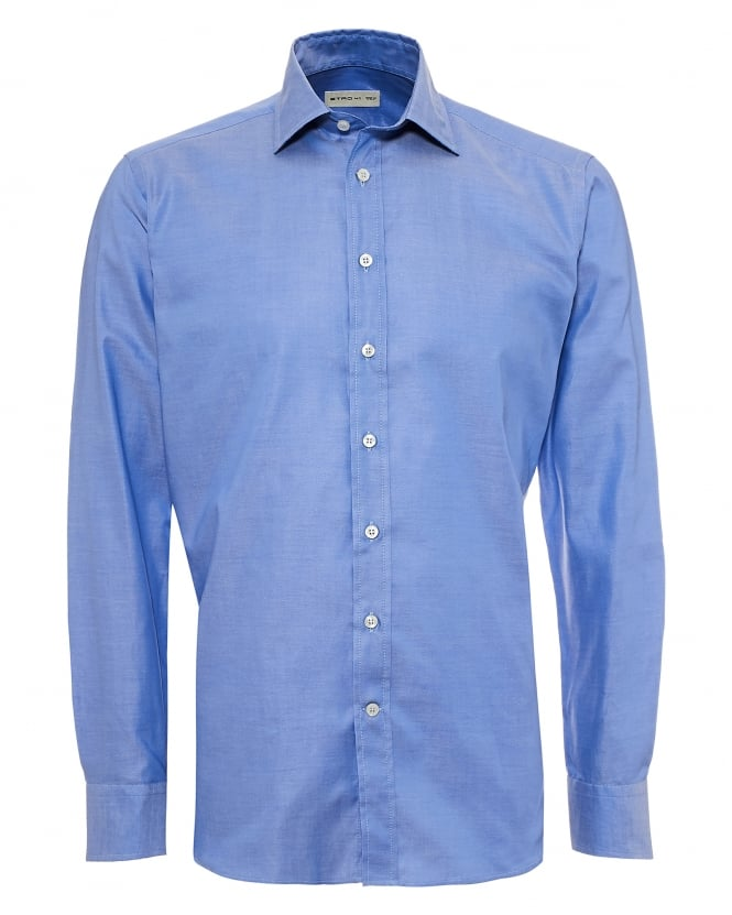 Etro Mens Contrast Paisley Inner Shirt, Regular Fit Sky Blue Shirt