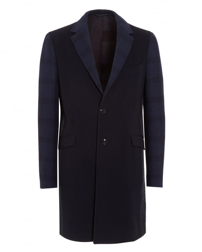 Etro Mens Contrast Patchwork Blue Coat
