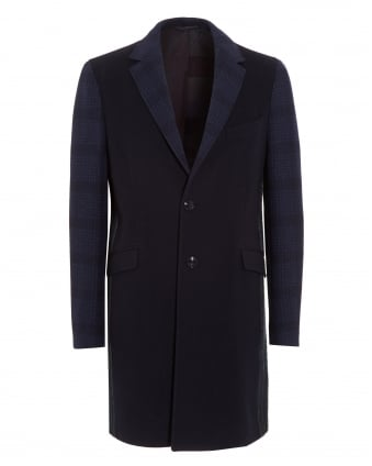 Mens Contrast Patchwork Blue Coat