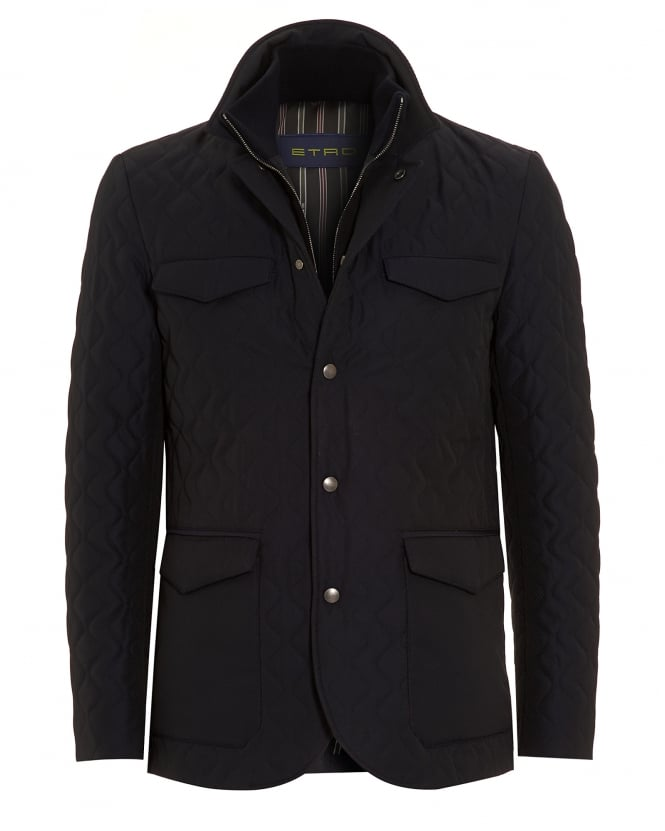 Etro Mens Diamond Quilt Jacket Dark Navy