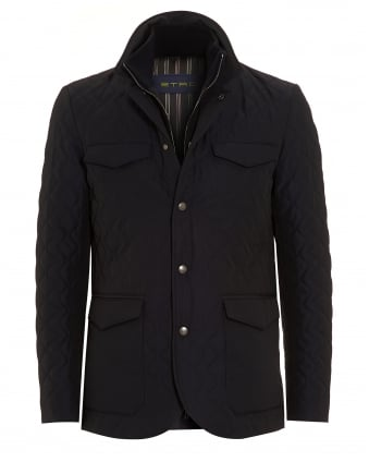 Mens Diamond Quilt Jacket Dark Navy