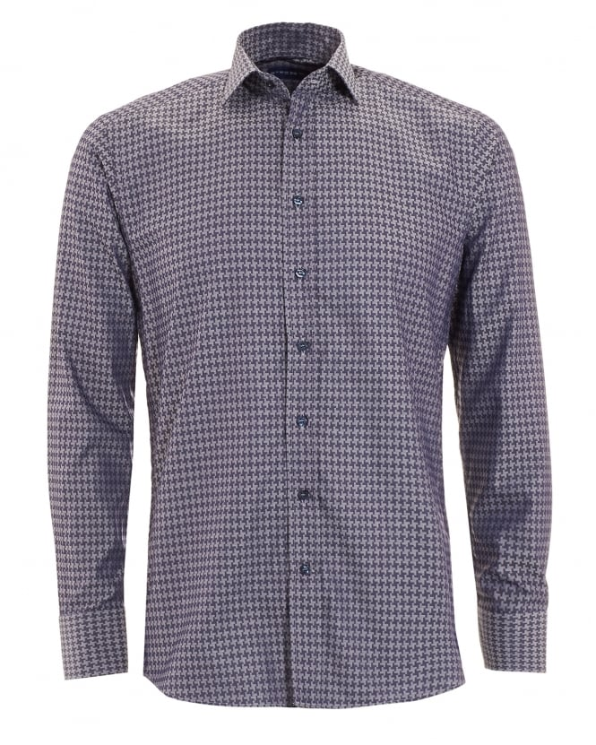 Etro Mens Dogtooth Shirt Navy Sky
