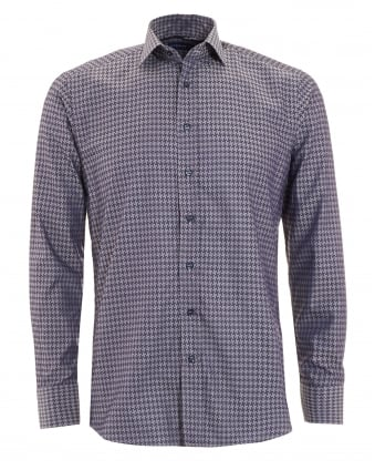 Mens Dogtooth Shirt Navy Sky