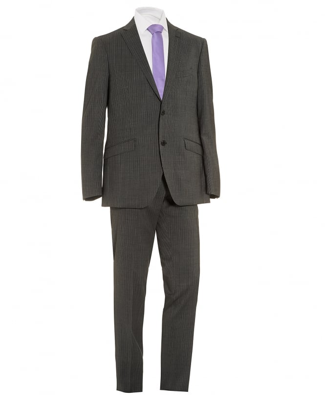 Etro Mens Fine Stripe Suit, Two Button Grey Multi Wool Suit