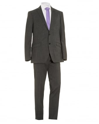 Mens Fine Stripe Suit, Two Button Grey Multi Wool Suit