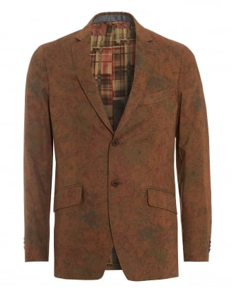 Mens Floral Leaves Jacket, Gold Regular Fit Blazer