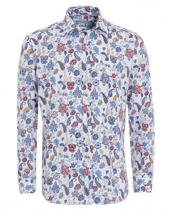 Mens Floral Paisley Shirt, Regular Fit White Multi Shirt