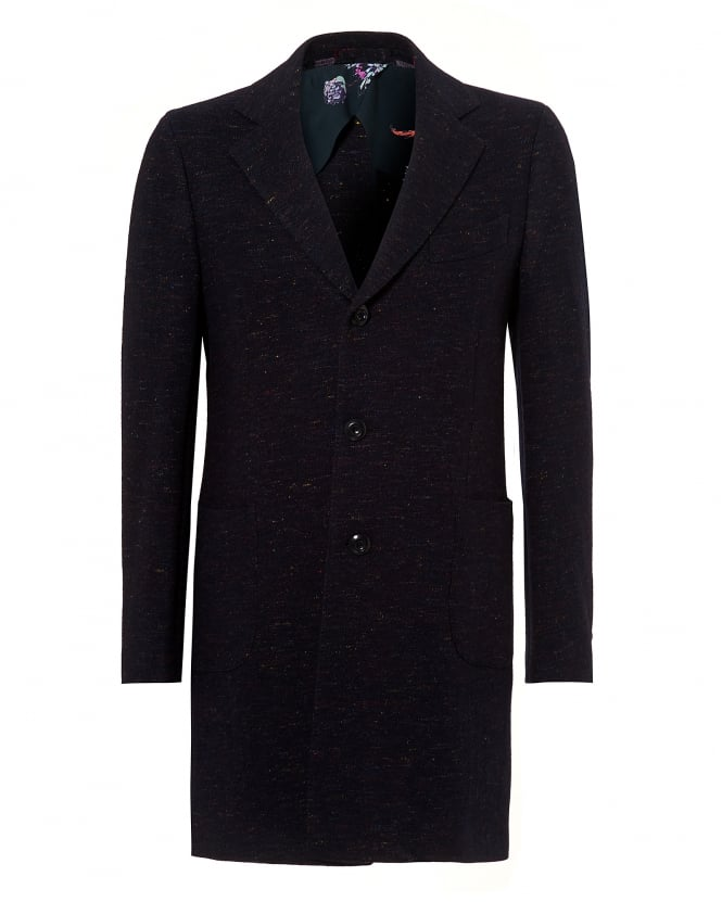 Etro Mens Full Length Coat, Floral Buggy Navy Fleck Jacket