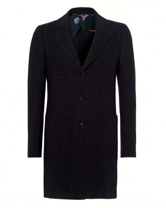Mens Full Length Coat, Floral Buggy Navy Fleck Jacket