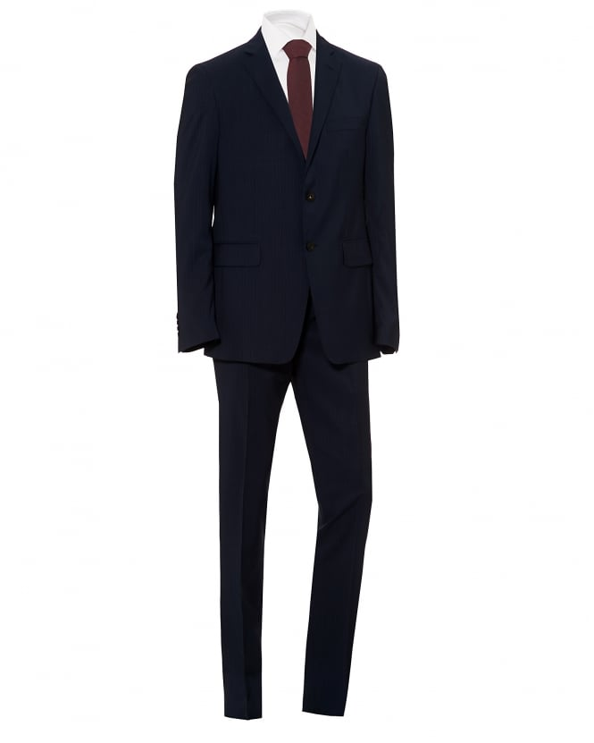 Etro Mens Fully Lined Micro Stripe Print Regular Fit Navy Blue Suit
