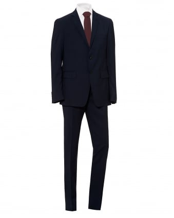 Mens Fully Lined Micro Stripe Print Regular Fit Navy Blue Suit
