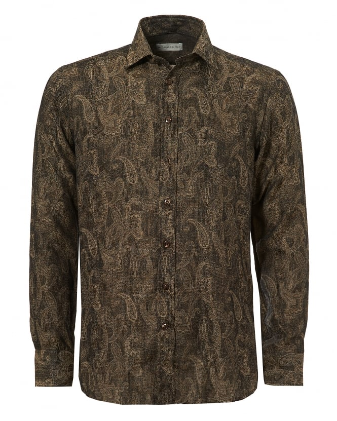 Etro Mens Gold Paisley Regular Fit Choc Gold Shirt