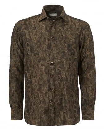 Mens Gold Paisley Regular Fit Choc Gold Shirt