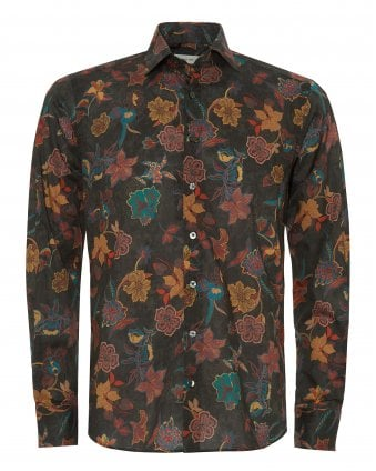 372875f7e Mens Green Floral Spread Collar Tropical Shirt