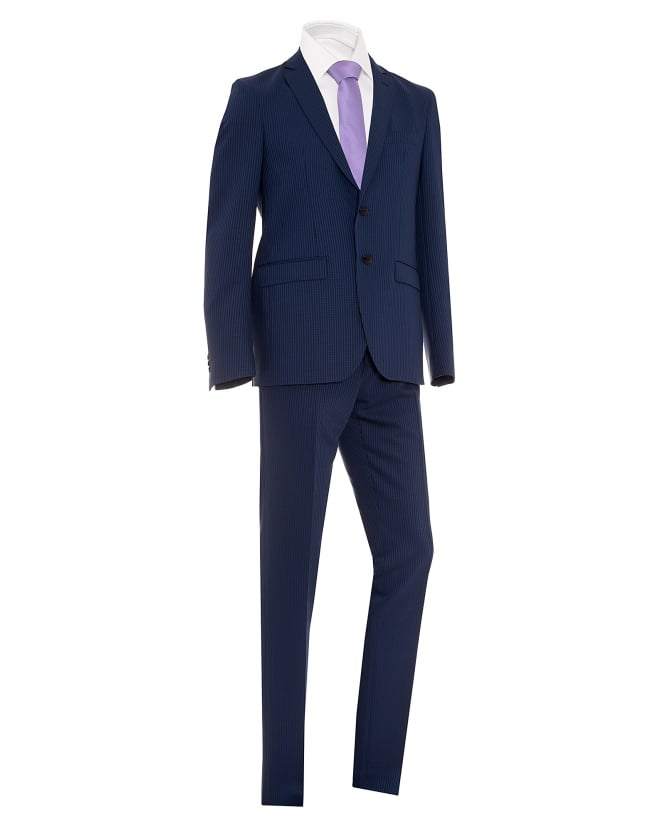 Etro Mens Houndstooth Two Button Blue Wool Suit