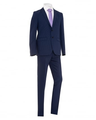 Mens Houndstooth Two Button Blue Wool Suit