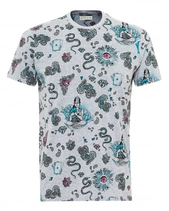 Mens Indian Tattoo Print T-Shirt, Regular Fit Grey Tee