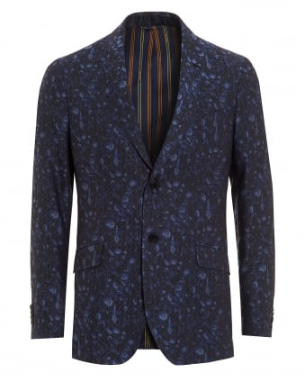 Mens Jacquard Jacket, Floral Pattern Blue Black Jacket